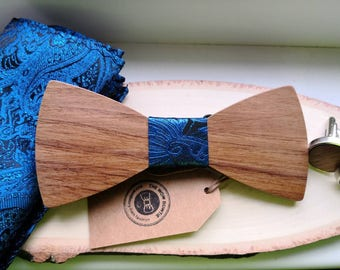 Handmade wooden bowtie *Mixture Blue* +gift box +Pocket square +Cufflinks handcrafted bowtie wedding gift for men him noeud papillon bois