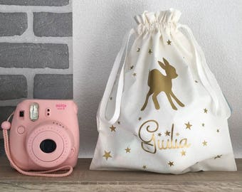 """Organza bag """"Little deer"""" - customizable (color + name choice) - toy bag - Ponchon toys and small business - taste school"""