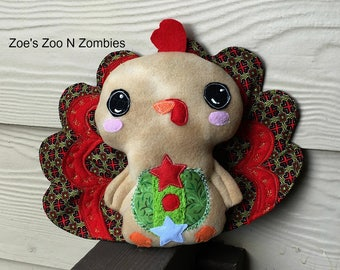 Handmade Christmas Turkey Stuffie , Gingerbread Softie Doll, Plushie, Childrens Toy