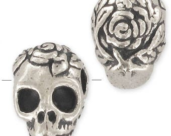 plated Silver/Gold 10mm skull 1pc