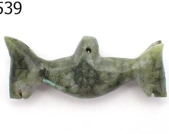 Very Old Twin DEER Heads PYU Style Tribal Art Natural Jade Bead Pendant #6539
