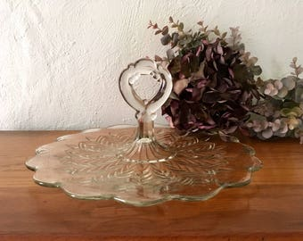 Vintage Jeannette Glass Sandwich Serving Platter with Handle, Feather Center