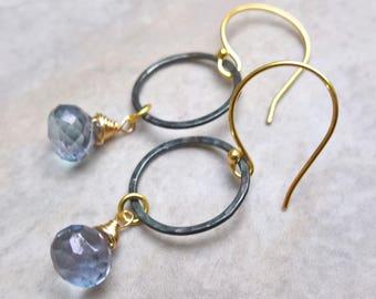 Circle earrings for women, blue quartz drop earrings, blue dangle earrings for women, circle drop earrings blue, blue quartz jewellery
