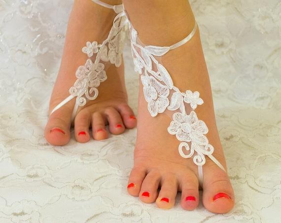 Barefoot Sandals Wedding Shoes White, beach wedding shoes, wedding lace shoes, bridesmade gift, beach shoes, MarrietDress 05