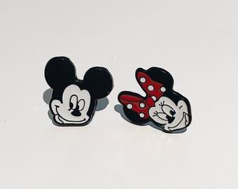 Mickey & Minnie Enamel Studs / Disney Studs / Animated Studs / Mickey and Minnie / Disney Earrings