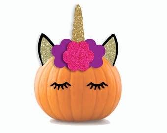 unicorn pumpkin printable pumpkin decorations cut files or print unicorn halloween decor - Pumpkin Decorations