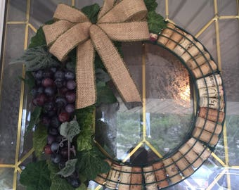 "14"" Wine Cork Wreath with grapes."