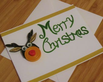 Merry Christmas Blank Cards,Christmas Reindeer Cards,Happy Holidays Cards,Merry Christmas Card Hand Made,X-mas Blank Cards