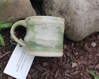 Green Ceramic Mug with Marbled White Coloring