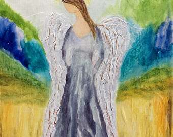 Guardian Angel / Alcohol Ink Angel Painting on Birch Wood / Spiritual Painting / Angel artwork / Healing Angel / Ethereal / Original Art