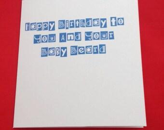 Baby Beards Birthday Card, Lack of Facial Hair Jokes, Adult Humour Birthday Jokes, Bum Fluff Jokes, Baby Face Jokes, Card For Him