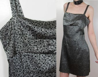 90s Metallic Grey Mini Dress : Size M/L