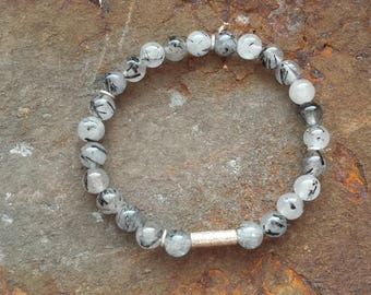 Turmalinquarz bracelet with 925 silver elements