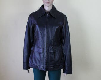 Vintage Leather Jacket Women's Black Leather Jacket Real Leather Coat Genuine Leather Coat Rocker Biker Zipper Sealing Medium/Large Size