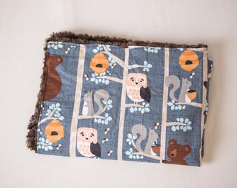 Owl and Friends ~ Faux Fur Minky ~ Baby Blanket ~ Toddler blanket