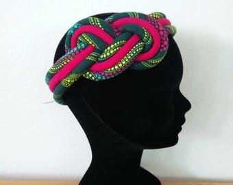 headband in Fuchsia and green African fabric