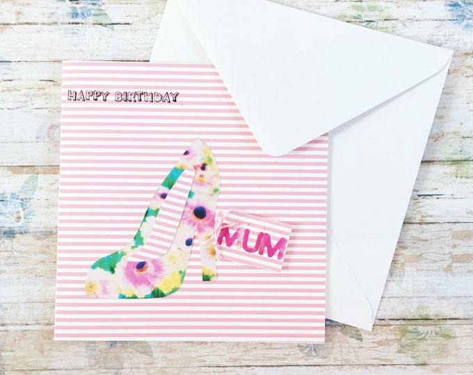birthday card, handmade card, happy birthday mum, shoe card, floral card design, for her, cards for her, gifts for her, mum birthday card