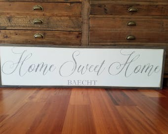 "Home Sweet Home Personalized Framed Sign 12""x48""