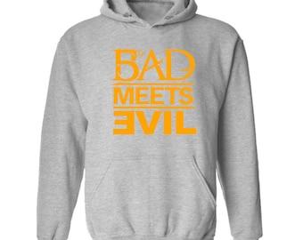 Bad Meets Evil Orange Logo Hoodie Classic Vintage Style Hip Hop Fleece Sweatshirt Rap Merch Dr Dre Eminem Revival Detroit Emcees Recovery