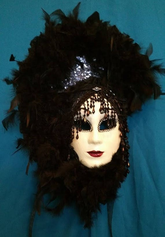 "Handcrafted, Original, One of a Kind, Paper Mache Mask, ""Lady in Feathers"" by Maskweaver, Soraya Ahmed"
