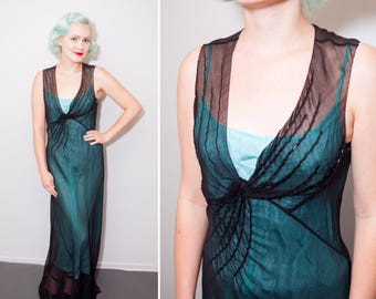 1920's Vamp Sheer Black Silk Crepe V-Neck Bias Cut Long Sleeveless Dress | Size Medium