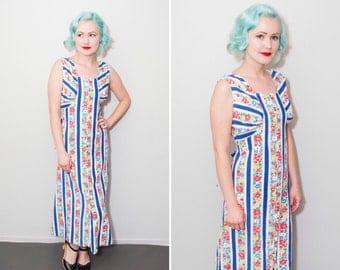 1930's Zip Front Floral Print Cotton Hostess Dress | Floor Length Long Dress | Size Medium