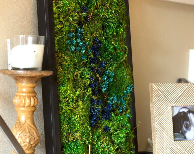 "Moss Wall Art ~ Moss Art Work ~ REAL Preserved Moss ~ No Maintenance Required Eco Natural Green Wall Art ~ 13""x17"" ~ ""River"""