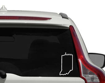 Indiana home vinyl decal - outline state of Indiana car decal - Indiana decal  - Indiana state outline - Indiana state
