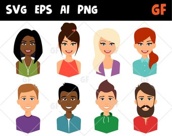 Characters vector clipart, svg persons, persons clip art, flat people clipart, flat icon, woman man clipart, girl boy clipart scrapbooking