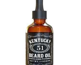 Best Sandalwood Beard Oil - Conditioner & Softener for Men - Kentucky 51 - 1oz, 2oz and 4oz