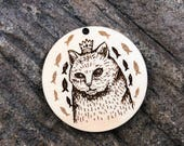 King Kitty Wooden Pendant