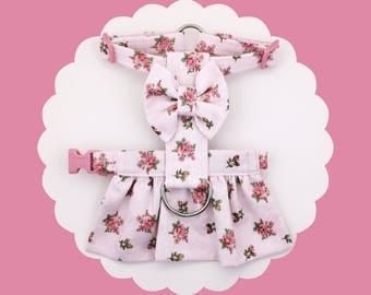 Pink or Green Roses Floral & Bow Dog or Puppy Harness Dress