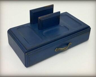 Navy Blue Mens Vintage Valet, Hand Painted, Gift for Husband, Boyfriend, Mens Jewelry Box, Wood Valet, Mens Dresser Box, Desk Tray Organizer