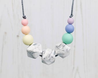 Silicone Teething Necklace, Pastel Rainbow, Mum Jewellery, Breastfeeding Necklace, Teething Jewellery, New Mum Gift, Baby Shower Gift