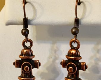 Fire Hydrant Antiqued Copper Plated Pewter Earrings