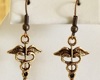 Medical Symbol Antiqued Gold Plated Pewter Earrings
