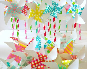 Paper pinwheels 10 pieces. Different colors. Party, wedding, cake, cake toppers