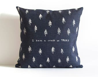 Pine Tree Pillow - Navy - I Have A Crush On Trees, Throw Pillow, Cushion Cover, Pillow Covers, Decorative Pillow Cover