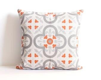 Orange Throw Pillow, Grey Pillow Cover, Morocco Pattern Pillow Covers, Accent Throw Pillow, Decorative Pillow Cover, Cushion Cover