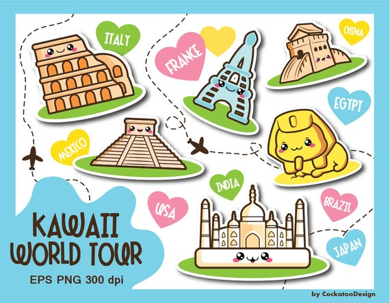 Travel clipart kawaii clipart kawaii travel clip art vacation il570xn freerunsca Image collections