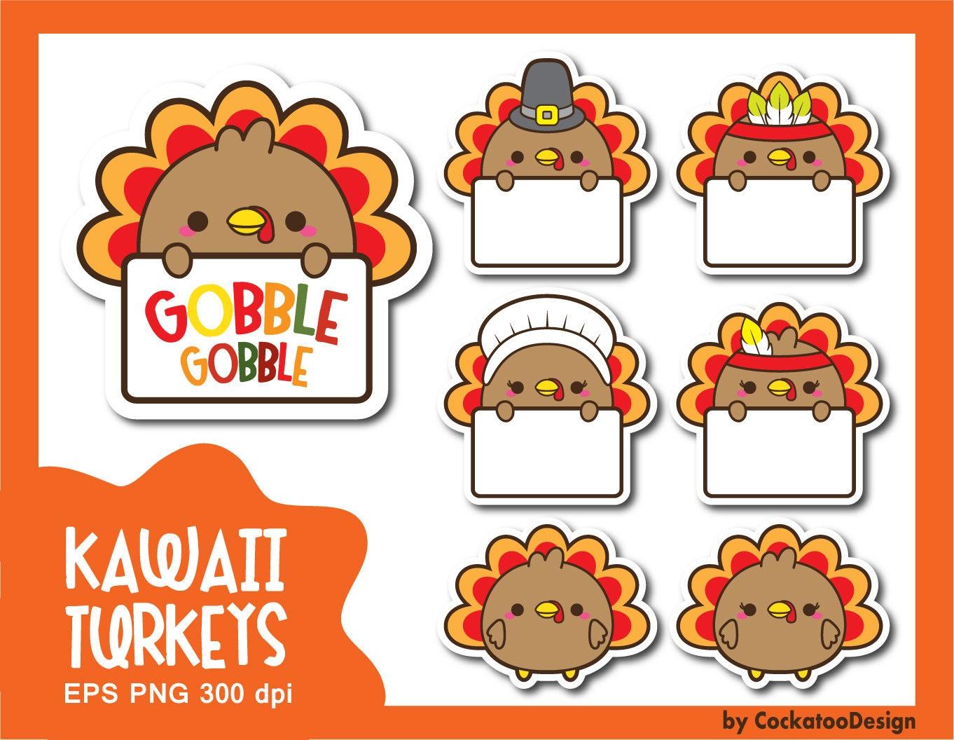 30% OFF Turkey clipart kawaii turkey clipart thanksgiving