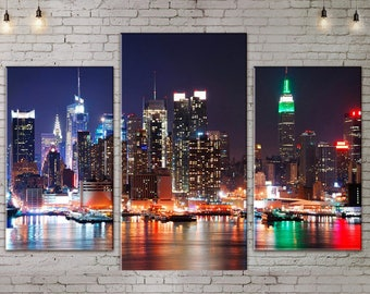 Art Print on Canvas, Large Print Wall Art , Skyline , River,Night City, Canvas Art, Interior Art, Living Room Decor, Extra Large Art