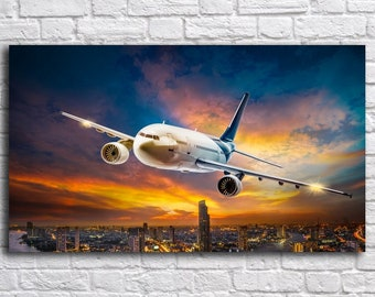 Airplane over the city, Art Print on Canvas, Canvas Art,  Living Room Decor, Large Print Wall Art,  Night city, Photo Print on Canvas