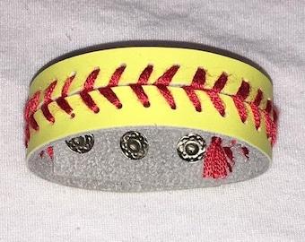 Yellow Leather Softball Seam Bracelet with Three Settings