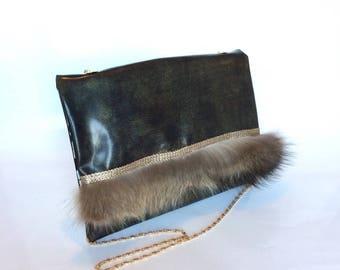 NEW! Antique gold lambskin leather shoulder bag handbag