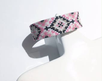 Woven on pink and black Cuff Bracelet