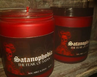 Satanophobia-The fear of Satan. Frosted Glass 8oz candle