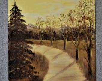 Original Painting Vintage Trees and Road