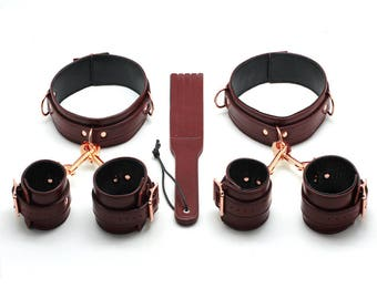 Bondage Leather Hand cuffs, Ankle cuffs, Thigh cuffs,SMALL, Paddle set, BDSM, SM, Sex toys, Fetish,Restraint(mature)