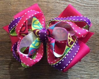 Peace Sign Stacked Hair Bow